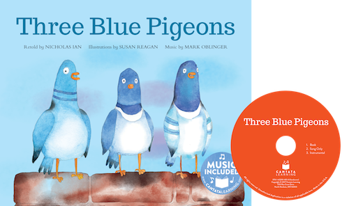 Three Blue Pigeons
